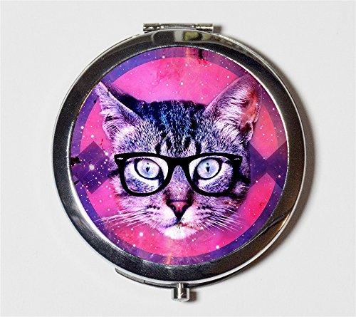 Cat Nerd Compact Mirror Anthropomorphic Trippy Hipster Eye Glasses Animal Art Kitten Kawaii for Makeup Cosmetics by Fringe Pop