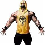 Sports Equipment Best Deals - Panegy Men's Gym Hoodie Tank Top Sleeveless Skull Print Sport Fitness Tee - Yellow S