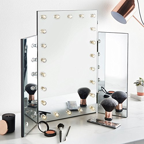 Beautify Trifold Hollywood Vanity Mirror - Tri-fold Lighted Makeup Mirror for Vanity Table (Table With Drawers Glass)