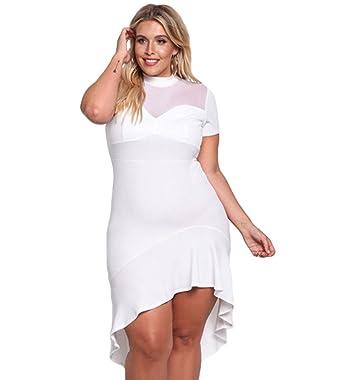 Veröffentlichungsdatum: 85515 d4920 YAANCUN Damen Perspektive Kurze Ärmel Unregelmäßige Ränder Kleid Abendkleid  Cocktailkleid Große Größen