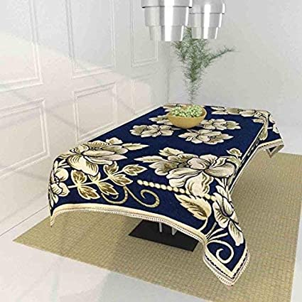 TIB Floral 450 TC Chenille 4 Seater Table Cover (Blue)