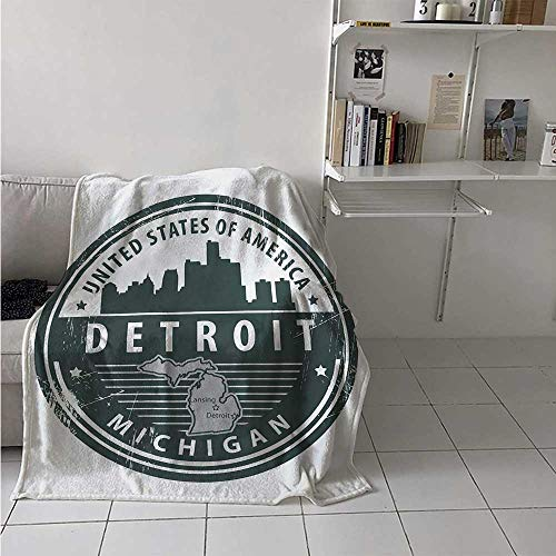 maisi Detroit Digital Printing Blanket Damaged Old Stamp of Michigan USA with City Map Location Tourism Travel Icon Summer Quilt Comforter 62x60 Inch Black White Grey
