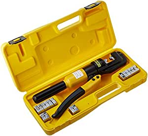 TMS 10 Ton Hydraulic Wire Battery Cable Lug Terminal Crimper Crimping Tool 9 Dies
