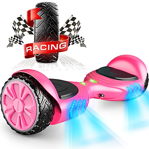 TOMOLOO Racing-Grade Widened Tires LED Hoverboard for Kids and Adult Two-Wheel Self-Balancing Scooter- UL2272 Certificated with Music Speaker- Colorful RGB Light