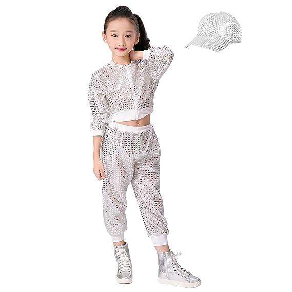 detailed look f66ef af845 Lolanta Set di Vestiti di Ballo di Strada di Costume delle Ragazze  Paillettes Hip-Hop Cime+Pantaloni+Cappello