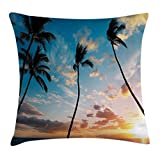 Ambesonne Palm Tree Throw Pillow Cushion Cover by, Sunset Trees in Hawaii Exotic Tropical Paradise with Open Sky Dreamy Picture, Decorative Square Accent Pillow Case, 24 X 24 Inches, Blue Orange