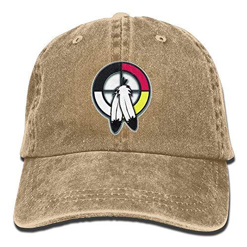 (Jiuyuan Medicine Wheel Baseball Cap for Men/Women Adjustable Unisex Plain Denim Dad Hats)