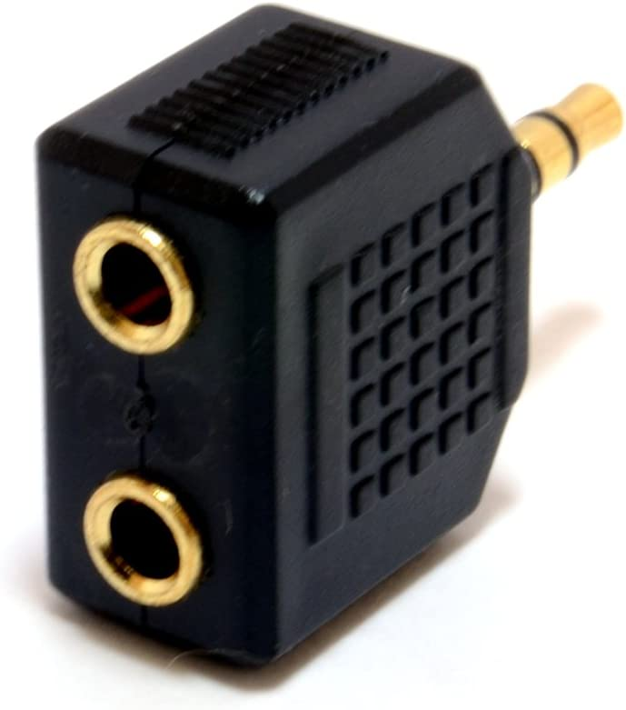 kenable 3.5mm Stereo Jack Splitter Adapter Jack Plug to Twin Sockets Gold