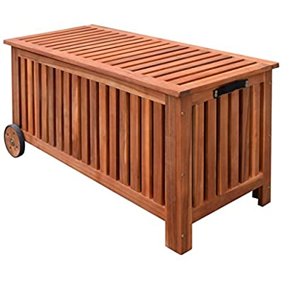 vidaXL Outdoor Storage Bench Deck Box Garden Wooden Patio Porch Cushion Pillow Storage