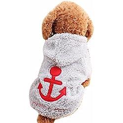Sudaderas Con Capucha De Terciopelo De Coral Del Gato Del Perro Sudaderas Anclaje Encantadores Calido Abrigo De Ropa Para Mascotas