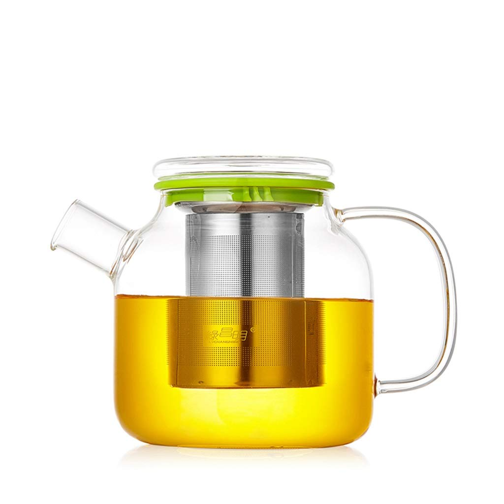 Glass teapot heat-resistant high-temperature thick transparent kungfu large boil teapot household tea water separation teapot CHAJU (Color : Green) by CHAJU