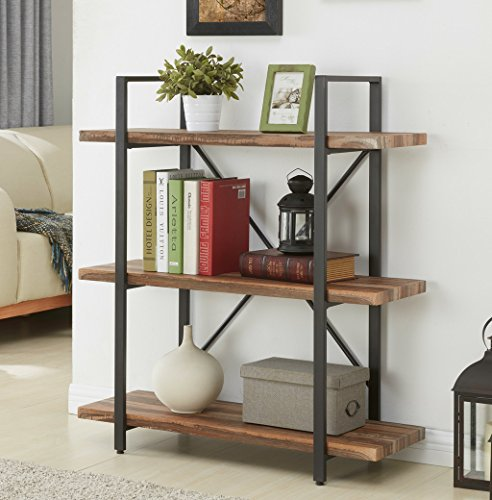 (Homissue 3-Tier Industrial Bookcase and Book Shelves, Vintage Wood and Metal Bookshelves, Retro Brown)