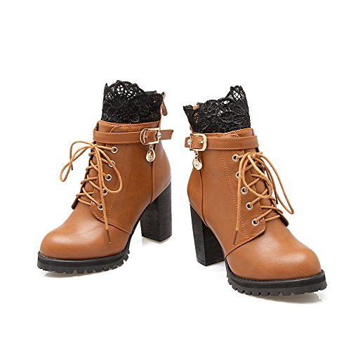 AllhqFashion Womens Soft Material Lace-Up Round Closed Toe High-Heels Low-Top Boots Brown 91K2u