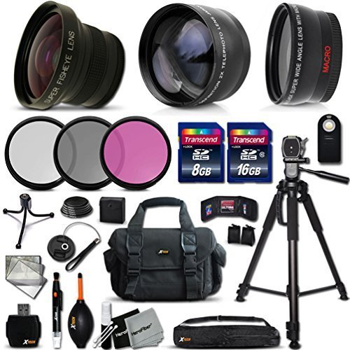 "Deluxe 28 Piece Accessory Kit for Sony Alpha a5100, a6000, a5000, a3000, Alpha 7 II, 7S, 7R, Alpha 7, SLT-A77 II, SLT-A99, SLT-A58, SLT-A57, SLT-A37, SLT-A77, SLT-A35, SLT-A65, SLT-A55, SLT-A33, Alpha NEX-3, NEX-3N, NEX-5N, NEX-5R, NEX-5T, NEX-6, NEX-7, NEX-F3 Cameras Includes: 58mm Super High Definition FishEye Lens + 58mm High Definition 2X Telephoto Lens + 58mm High Definition Wide Angle Lens + 16GB High Speed Memory Card + 8GB High Speed Memory Card + Professional Full Size 72"" Inch Tripod + Large Well Padded Case + Universal Camera Remote Control + 49mm 3 Piece Glass Filter Set (UV Filter + CPL Filter + ND Filter) + Universal Card Reader + Flexible Mini Table Tripod + Memory Card Case Holder + Screen Protectors + Mini Blower + Cleaning Pen + 49mm Lens Cap + Lens Cap Holder + Deluxe Cleaning Kit + Ultra Fine HeroFiber Cleaning Cloth"