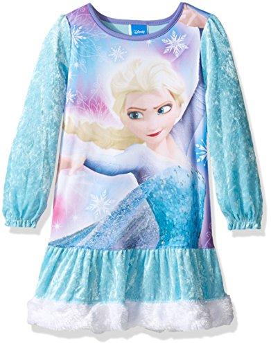 Disney Girls' Big Girls' Frozen Elsa Ruffled Nightgown, Winter Blue, (Ruffled Nightgown)