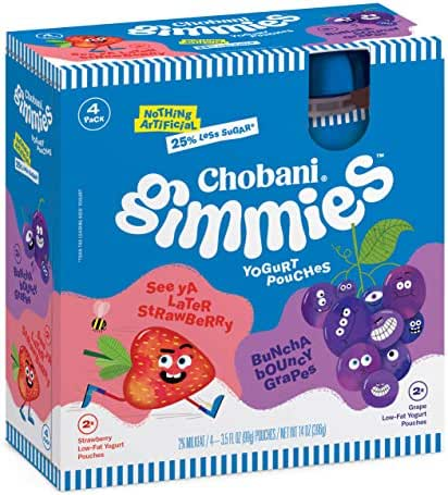 Chobani Gimmies Yogurt Pouches, Strawberry/Grape 3.5oz, 4-pack