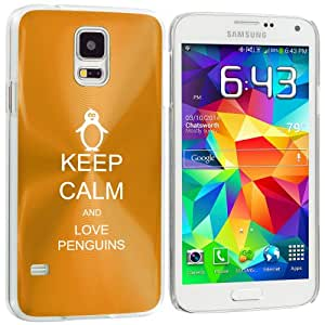 Samsung Galaxy S5 Aluminum Plated Hard Back Case Cover Keep Calm and Love Penguins (Yellow Gold)