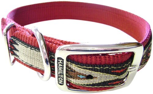 Hamilton 1-Inch Single Thick Nylon Deluxe Dog Collar, 20-Inch, Red with Southwest Overlay