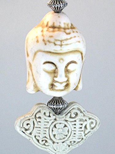 Carved Vishnu Hindu God with Off-White Cinnabar Carved Beads Ceiling Fan Pull Chain