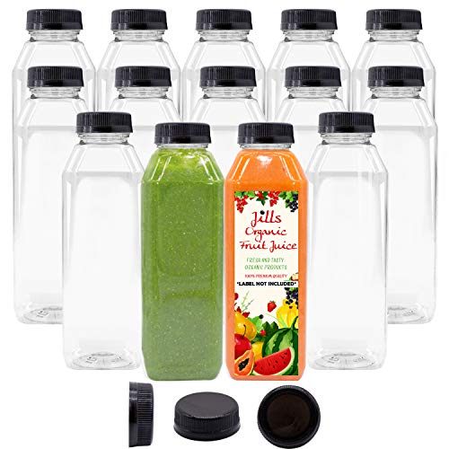 16 OZ Empty PET Plastic Juice Bottles - Pack of 14 Reusable Clear Disposable Milk Bulk Containers with Black Tamper Evident Caps Lids