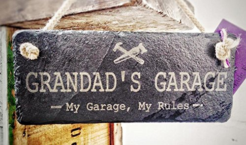 Grandad's Garage Hanging Slate Sign With Rope - 25x12cm - The Perfect Manly Gift Platters Slate