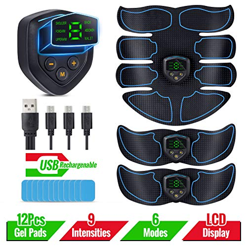 Abs Stimulator Muscle Trainer – EMS Abdominal Toning Belt with 12pcs Gel Pad, LCD Display, USB Rechargeable, Portable Fitness Equipment for Women Men Abdomen/Arm/Leg Workout, Office, Home Gym Gear
