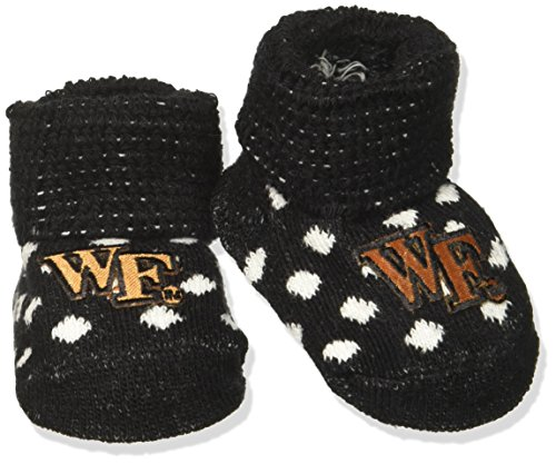 Two Feet Ahead NCAA Wake Forest Demon Deacons Infant Polka Dot Gift Box Booties, New Born, -