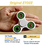 Spinner Fidget Stress Reducer Premium Hybrid Ceramic Bearing 15 Colors for Kids & Adults by ZTOZZ (White+Blue)