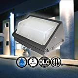 120-277V Forward Throw LED Wall Pack Light 40 watts 4843 lumens DLC and ETL with 5 Year Warranty. LED Wall Pack for Outdoor Wall and Area