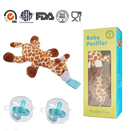 2-Pack Safe Infant Pacifiers, STAR-FLY No Toxicity Removable Pacifiers Holder with Stuffed Animal Toy Baby Orthodontic Nipples for Boy and Girl(Giraffe) ()