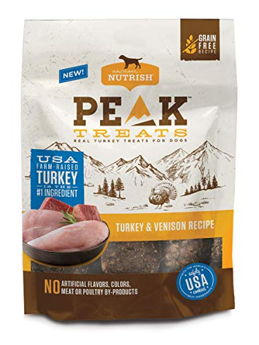 Rachael Ray Nutrish PEAK Grain Free Dog Treats, Turkey and Venison Recipe, 12 oz. Bag