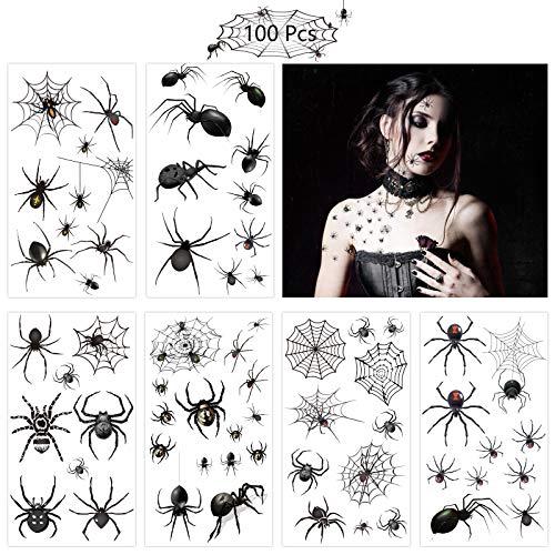 ZERHOK Temporäre Schwarz Spinnen Tattoos, 12 Blatt Schaurige Spinnweben Tattoos Kinder Klebetattoos für Halloween Masquerade Karneval Party Punk Geschenk