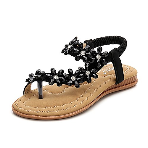 Wollanlily Women Summer Beach Bohemia Flat Sandals Rhinestones Flower Ankle Strap Flip-Flop Shoes(8 B(M) US,Black) (Rhinestone Ankle Strap Sandal)