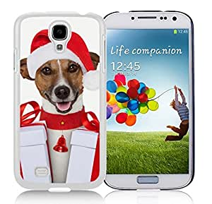 Provide Personalized Customized Red Hat Dog With Christmas Gifts Durability White TPU Case For Samsung Galaxy S4,Samsung I9500