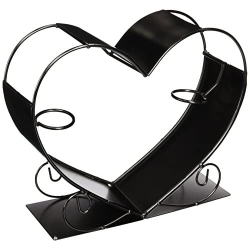 WINE BODIES ZB1190 Big Heart Metal Wine Bottle Holder, Charcoal