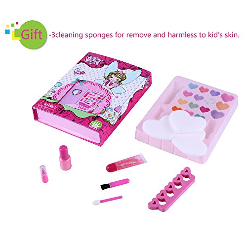 Tokia Kids Makeup Kit for Girls, Little Girls Toys with Mirror - Bookshaped