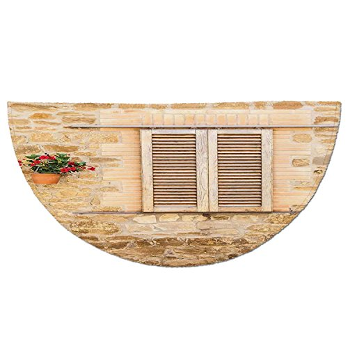 Half Round Door Mat Entrance Rug Floor Mats,Tuscan,Rustic Stone House and Window Shutters Flower Pot on Wall Italian Country Home Theme,Beige,Garage Entry Carpet Decor for House Patio Grass Water