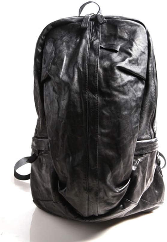 ETH メンズファッションレトロバックパック/パーソナライズされたレザートラベルアウトドアバックパック ハイエンド (色 : 黒) 黒