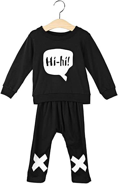 Amazon.com  baby clothes set HIHI XOXO trendy unisex baby suit black cotton  long-sleeved shirt+pants newborn bebe baby clothing (3-6 MONTHS b0d2de7b1