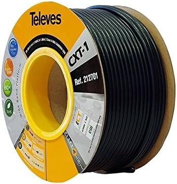 Televes 212701, Cable Coaxial Acero-Cobre CXT1, Negro, PVC (Bobina ...