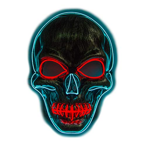 Men's Light Up LED Scary Death Skull Mask for Halloween Gift (Red/Blue Light Up Skull Mask)