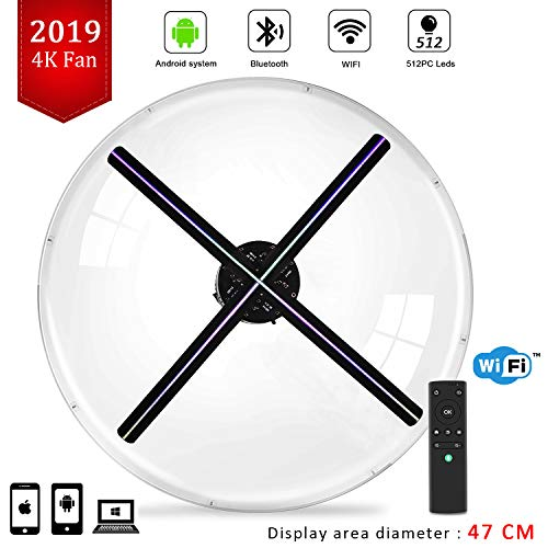 (4K 3D Hologram Display Fan with Four-Axil Design 3D Holographic Fan Detachable Blades,512P Hi-Resolution and WiFi Added for Business,Store,Shop,Bar)