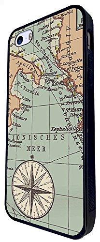 179 - Vintage World Map Compass Design iphone SE - 2016 Coque Fashion Trend Case Coque Protection Cover plastique et métal - Noir