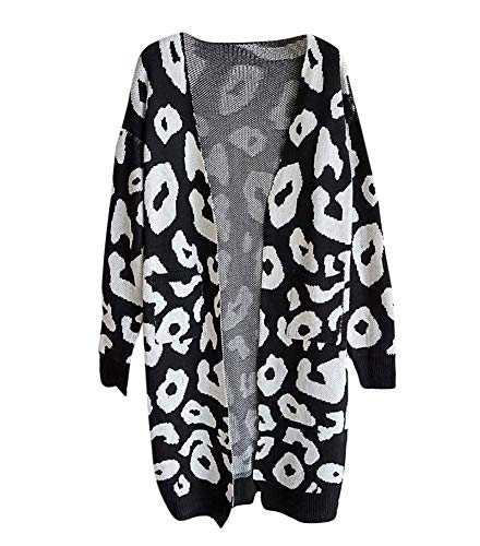 c8393f59151f Women s Long Sleeves Knitted Leopard Cardigan Open Front Warm Winter ...