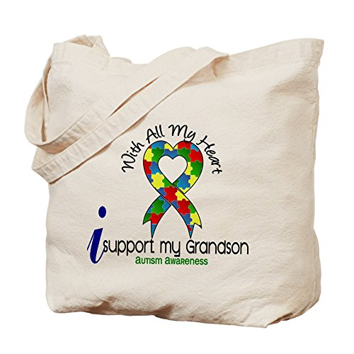 CafePress–con todo mi corazón autismo–Gamuza de bolsa de lona bolsa, bolsa de la compra