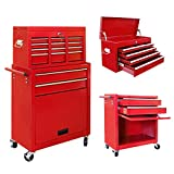 VIVOHOME 2 in 1 Rolling Tool Cart Wheeled Storage Cabinet Organizer with Drawers Red