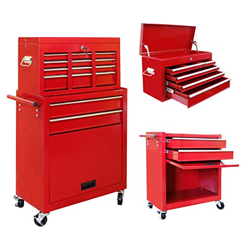 VIVOHOME 2 in 1 Rolling Tool Cart Wheeled Storage Cabinet Organizer with Drawers Red Drawer Heavy Duty Tool Cart