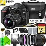 Nikon D3500 DSLR Camera with 18-55mm Lens - 64GB Memory Card - Lens Filters - Extra Battery Bundle