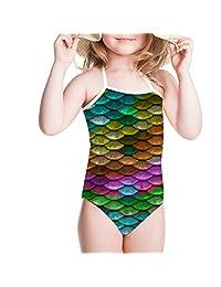 Coloranimal Kids Girls Swimsuit One Piece Swimwear Mermaid Scales Gymnastic Bath Suit