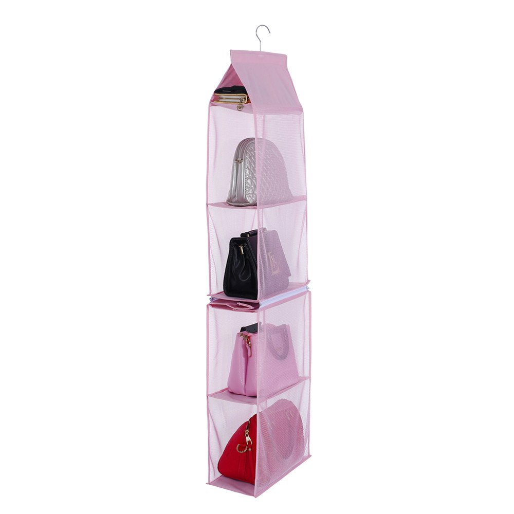 Hanging Purse Organizer for Closet Dust-Proof Detachable 6 Women Handbags Organizer Wardrobe Collection Storage Holder Saving Fabric For Living Room Bedroom Home